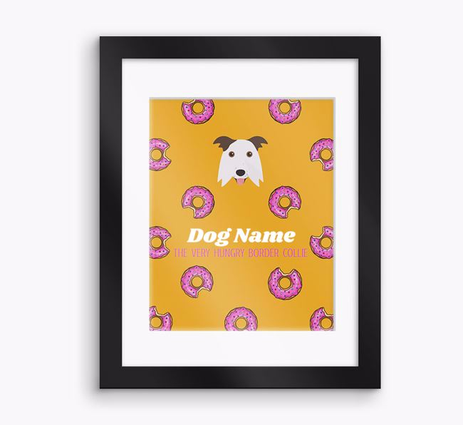 Personalised ' the very hungry Border Collie' Framed Print