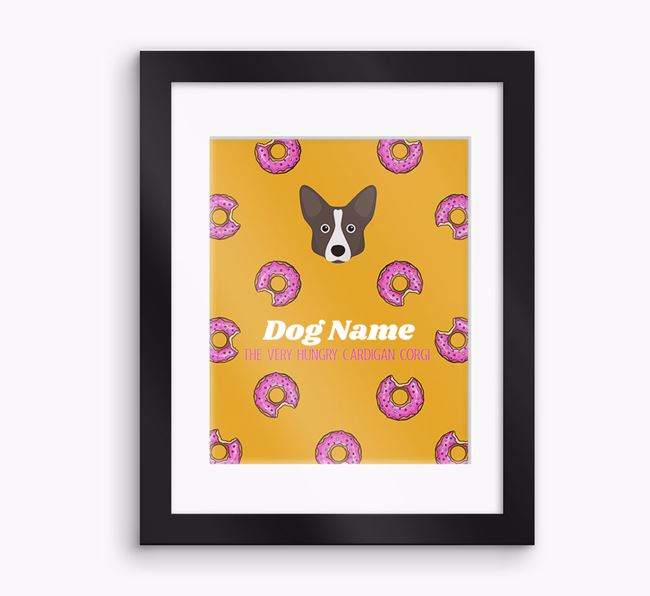 Personalised ' the very hungry Cardigan Corgi' Framed Print