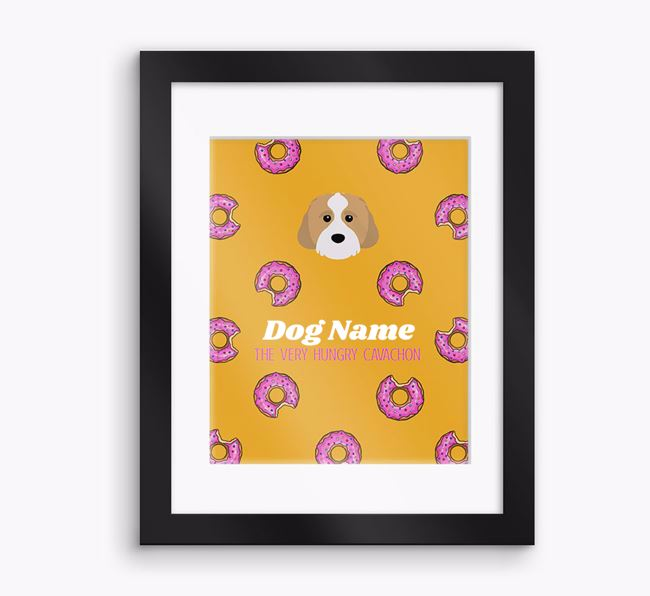 Personalised ' the very hungry Cavachon' Framed Print