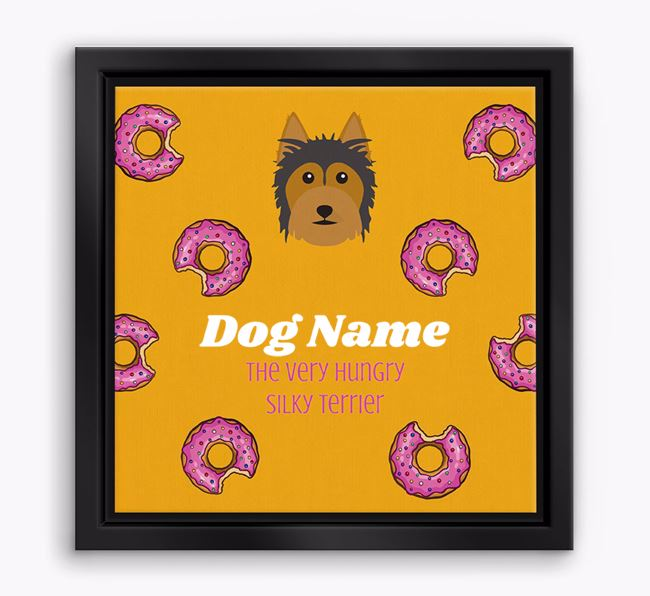 ' the hungry Silky Terrier' Boxed Canvas Print