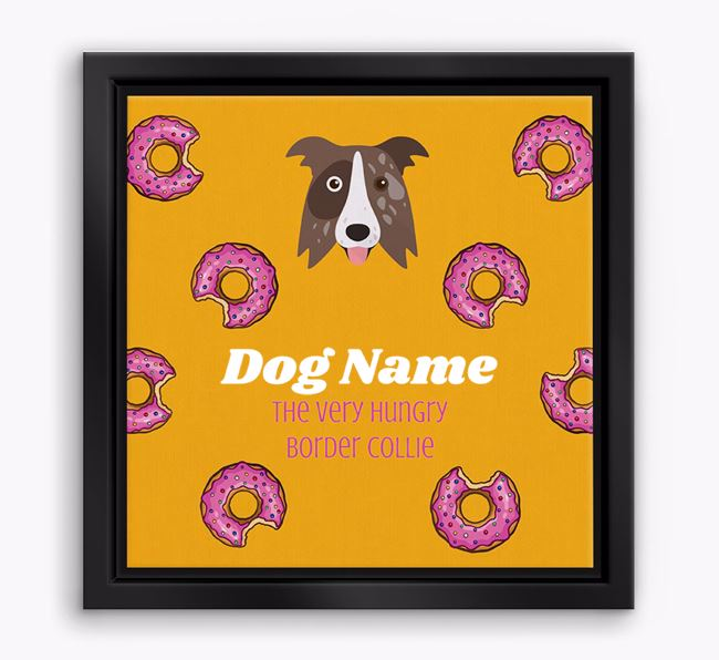 ' the hungry Border Collie' Boxed Canvas Print