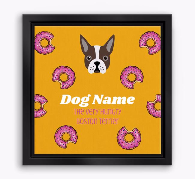 ' the hungry Boston Terrier' Boxed Canvas Print