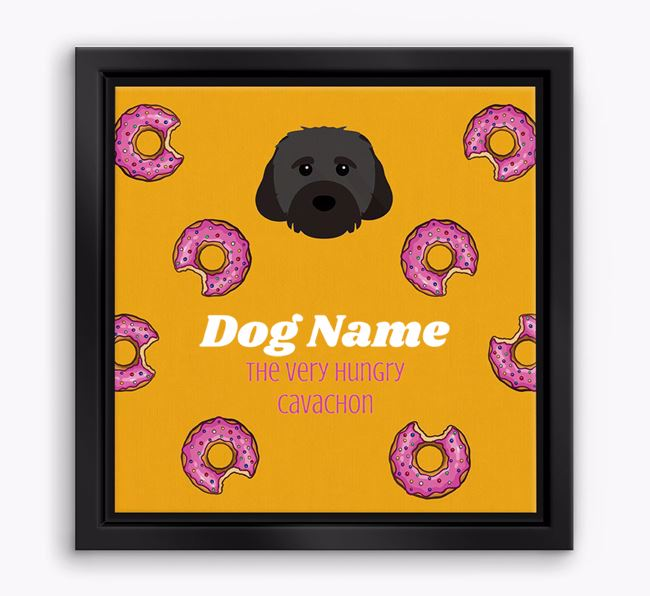 ' the hungry Cavachon' Boxed Canvas Print