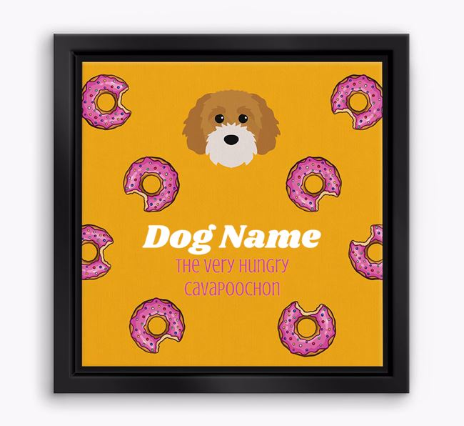' the hungry Cavapoochon' Boxed Canvas Print