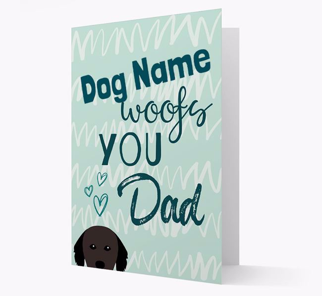 Personalized Hovawart ' woofs you, Dad' Card