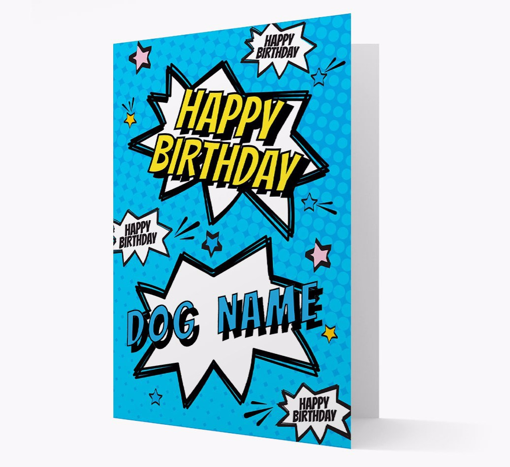 Personalised 'Happy Birthday {dogsName}' Comic Style Card