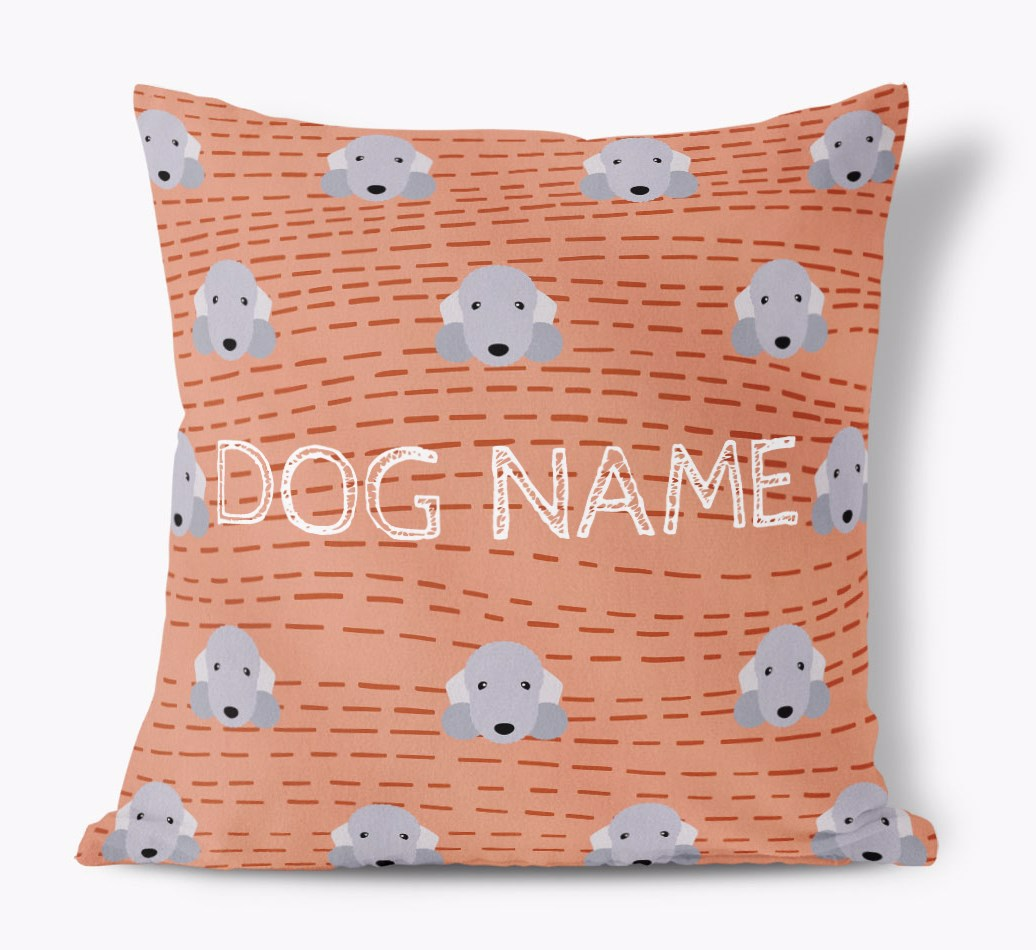 Front view of {colour} Personalised Bedlington Terrier Yappicon Soft Touch Cushion