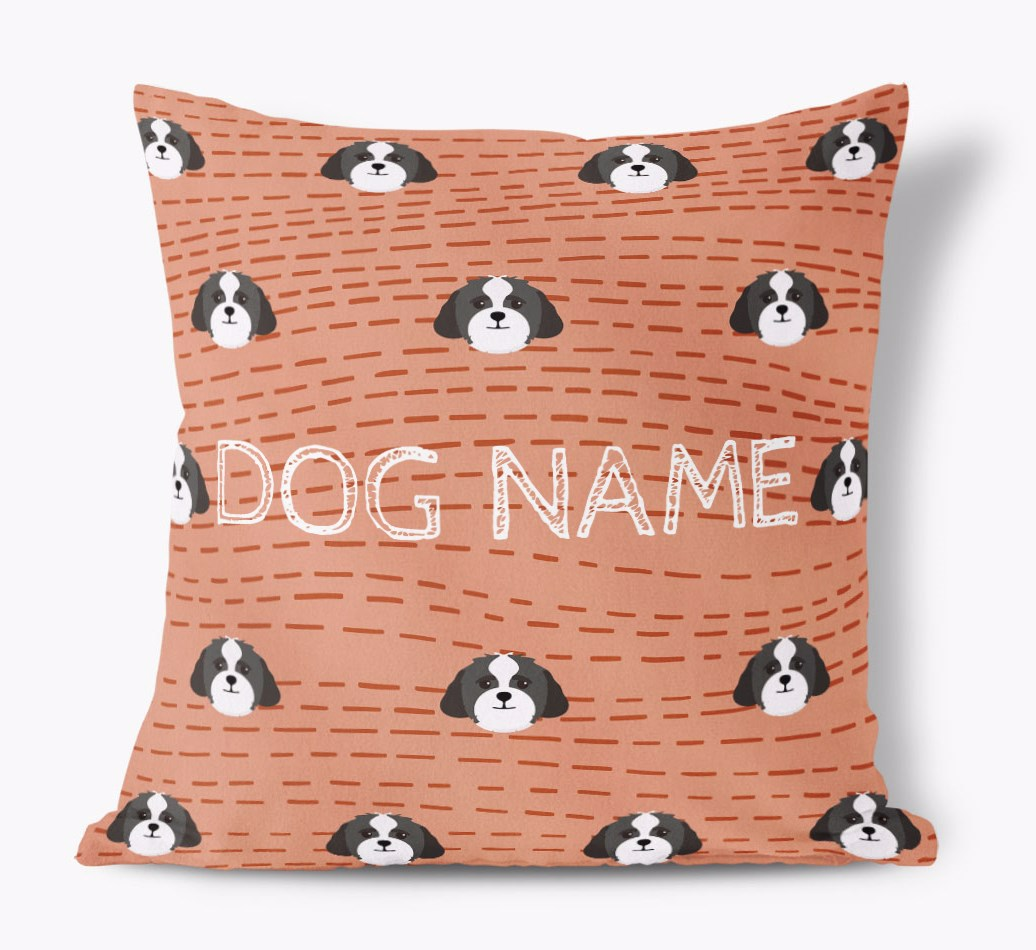 Front view of {colour} personalized Lhasapoo Yappicon Soft Touch Pillow