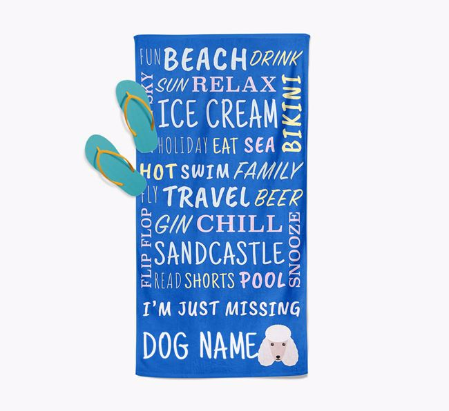 Personalised 'Missing ' with Poodle Icon Pool Towel