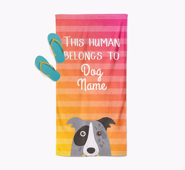 Personalised Pool Towel 'This Human Belongs To ' with Border Collie Icon