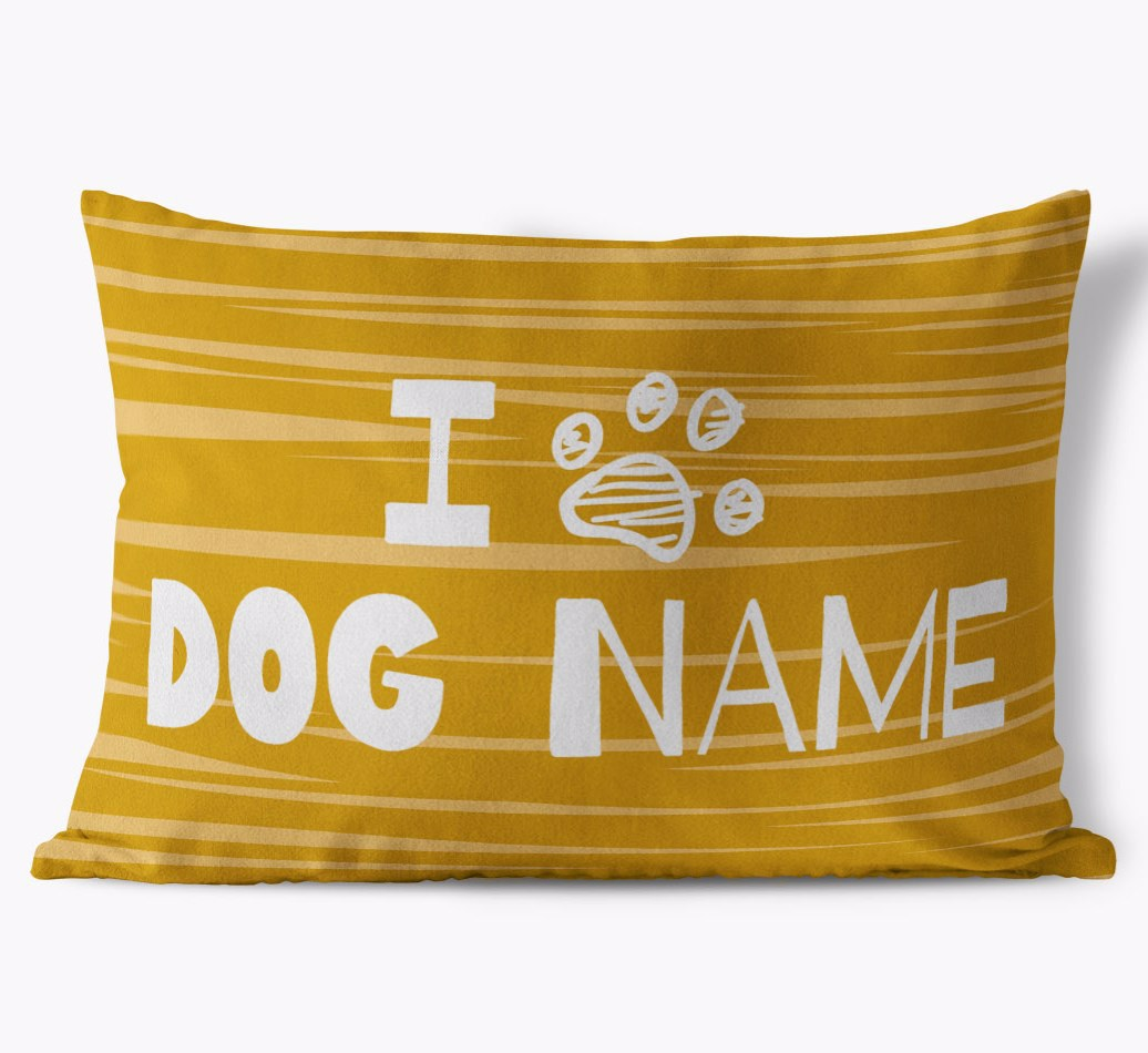 Bedlington Terrier Personalised 'I Paw {dogsName}' Soft Touch Cushion in {colour} front view
