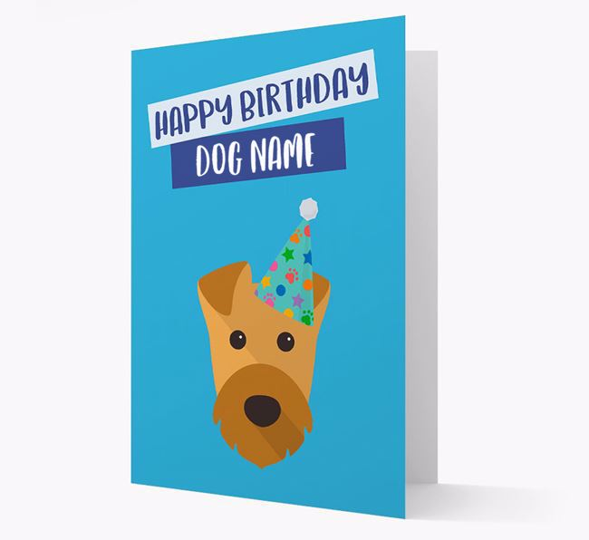 Personalized 'Happy Birthday ' Card with Airedale Icon