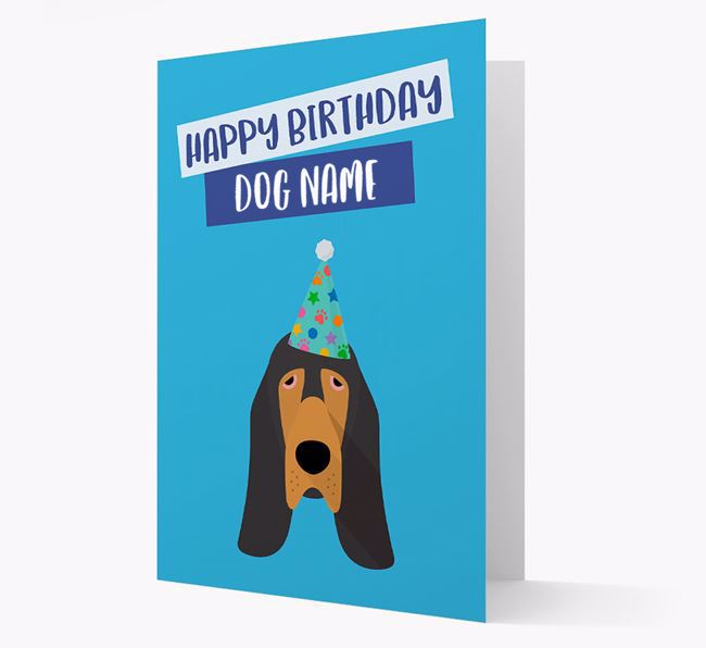 Personalized 'Happy Birthday ' Card with Bloodhound Icon