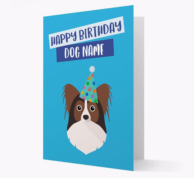 Personalized 'Happy Birthday ' Card with Papillon Icon