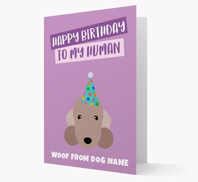 Personalised 'Happy Birthday To My Human' Card with Bedlington Icon