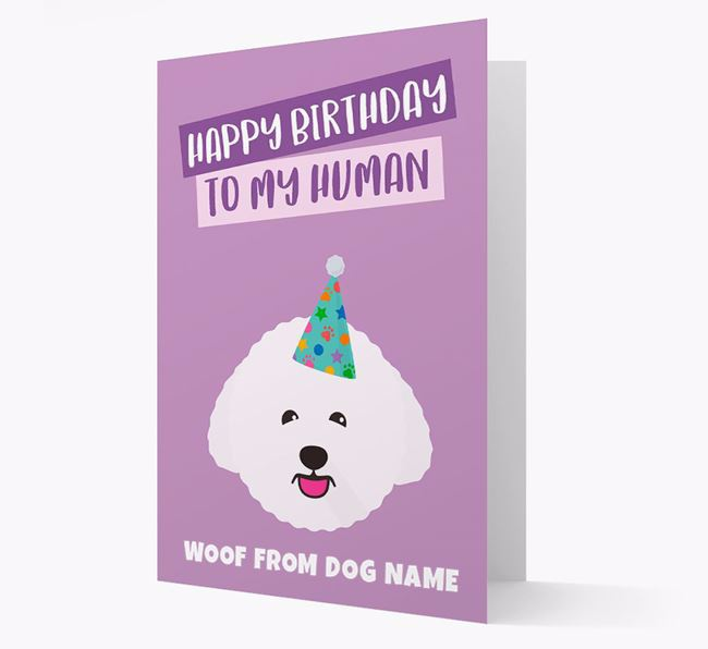 Personalised 'Happy Birthday To My Human' Card with Bichon Frise Icon
