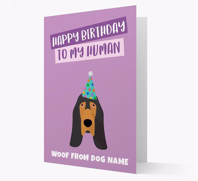 Personalized 'Happy Birthday To My Human' Card with Bloodhound Icon