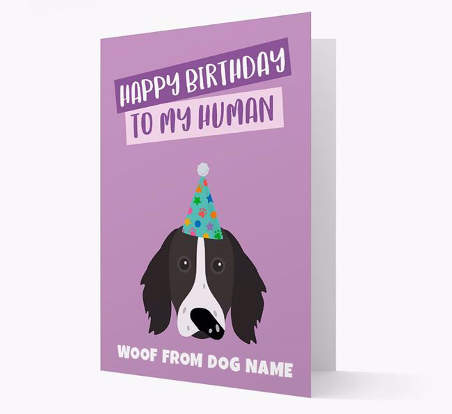 Personalized 'Happy Birthday To My Human' Card with Longhaired Pointer Icon