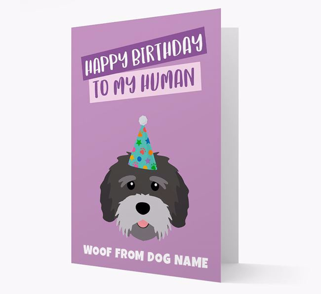 Personalized 'Happy Birthday To My Human' Card with Tibetan Terrier Icon