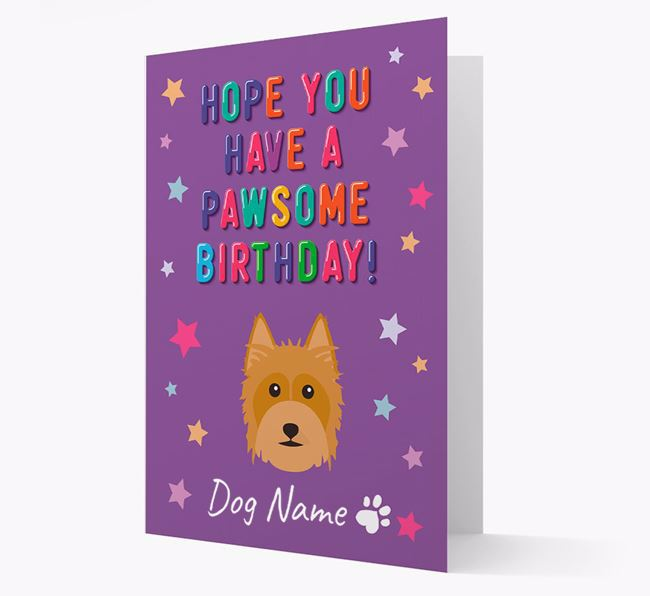 Personalised Card 'Hope You Have A Pawesome Birthday' with Silky Terrier Icon