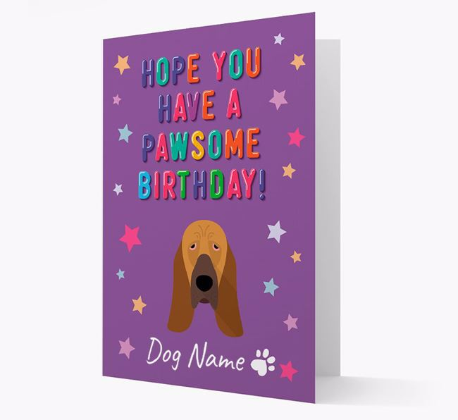 Personalised Card 'Hope You Have A Pawesome Birthday' with Bloodhound Icon