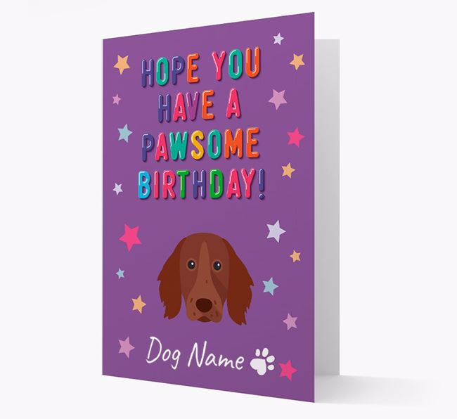 Personalised Card 'Hope You Have A Pawesome Birthday' with Longhaired Pointer Icon