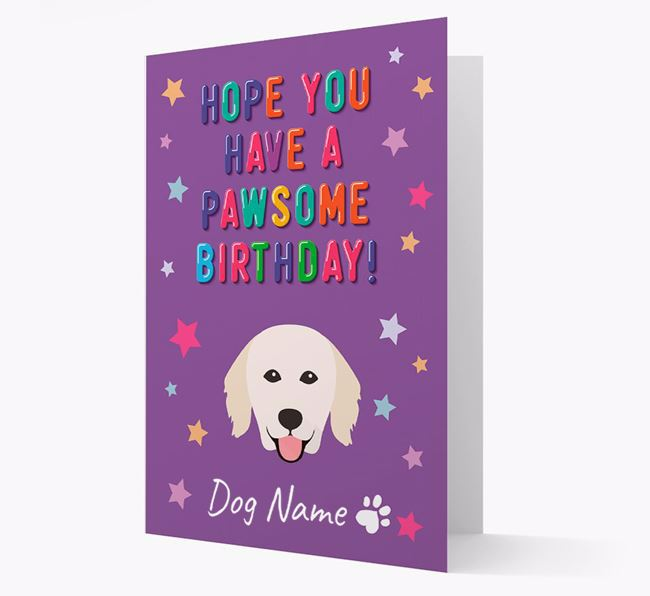 Personalised Card 'Hope You Have A Pawesome Birthday' with Kuvasz Icon