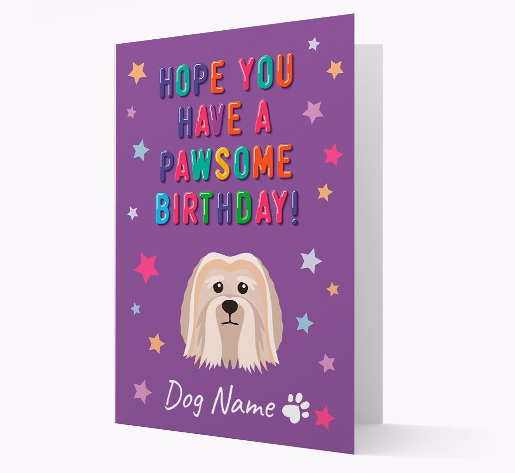 Personalized 'Hope You Have A Pawesome Birthday' Card with Löwchen Icon