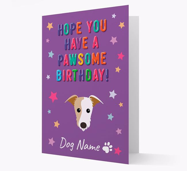 Personalised Card 'Hope You Have A Pawesome Birthday' with Lurcher Icon