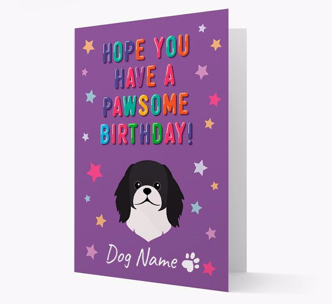 Personalised Card 'Hope You Have A Pawesome Birthday' with Pekingese Icon