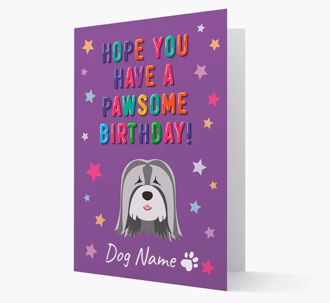 Personalised Card 'Hope You Have A Pawesome Birthday' with Tibetan Terrier Icon
