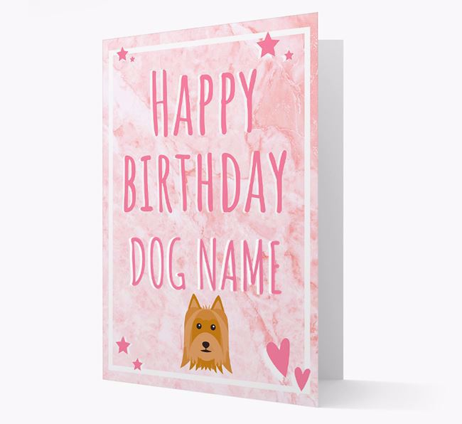 Personalized 'Happy Birthday' Card with Australian Silky Terrier Icon