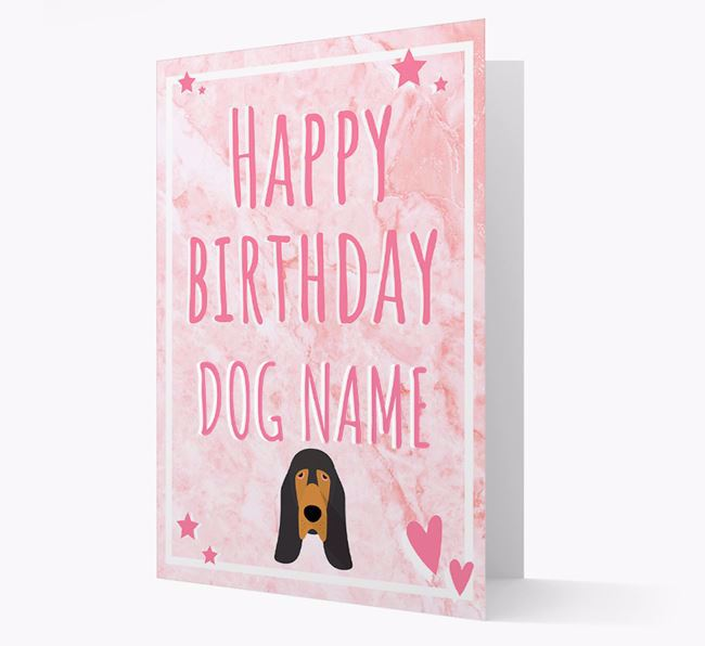 Personalized 'Happy Birthday' Card with Bloodhound Icon