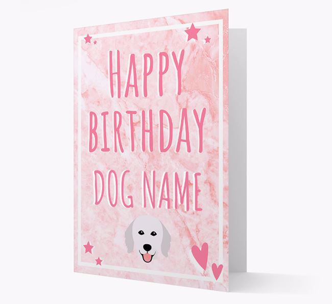 Personalized 'Happy Birthday' Card with Hungarian Kuvasz Icon