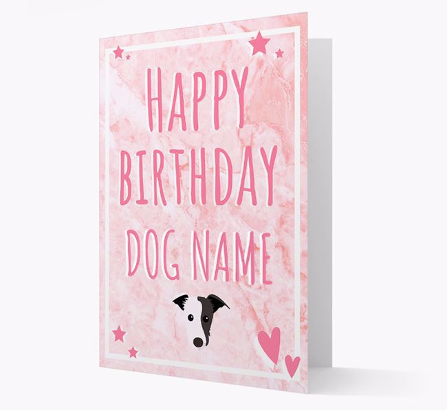 Personalized 'Happy Birthday' Card with Lurcher Icon