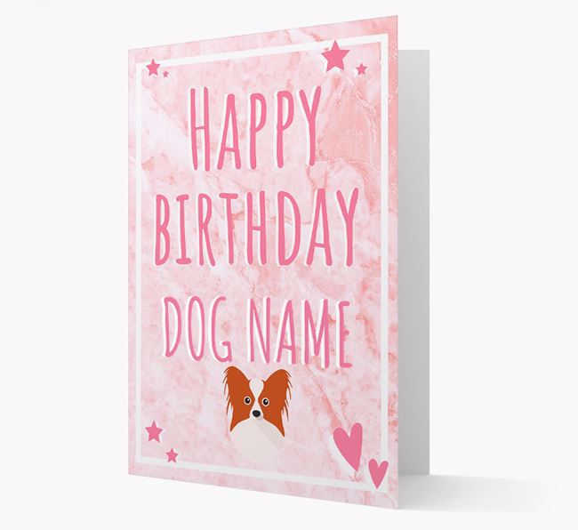 Personalized 'Happy Birthday' Card with Papillon Icon
