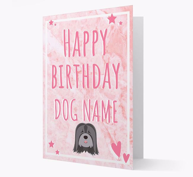 Personalized 'Happy Birthday' Card with Tibetan Terrier Icon