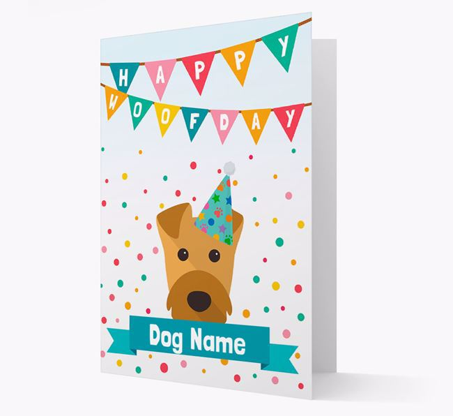 Personalised Card 'Happy Woofday ' with Airedale Icon