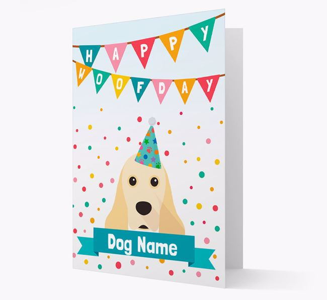 Personalised Card 'Happy Woofday ' with Cocker Spaniel Icon