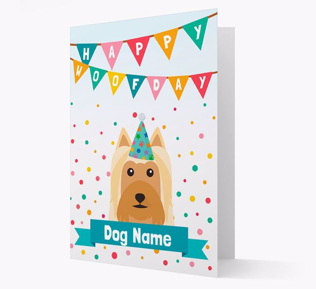 Personalized Card 'Happy Woofday ' with Silky Terrier Icon