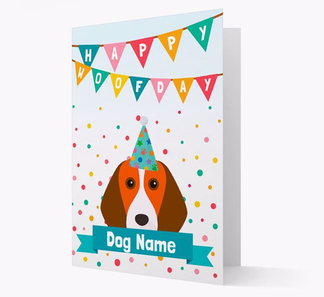 Personalised Card 'Happy Woofday ' with Beagle Icon
