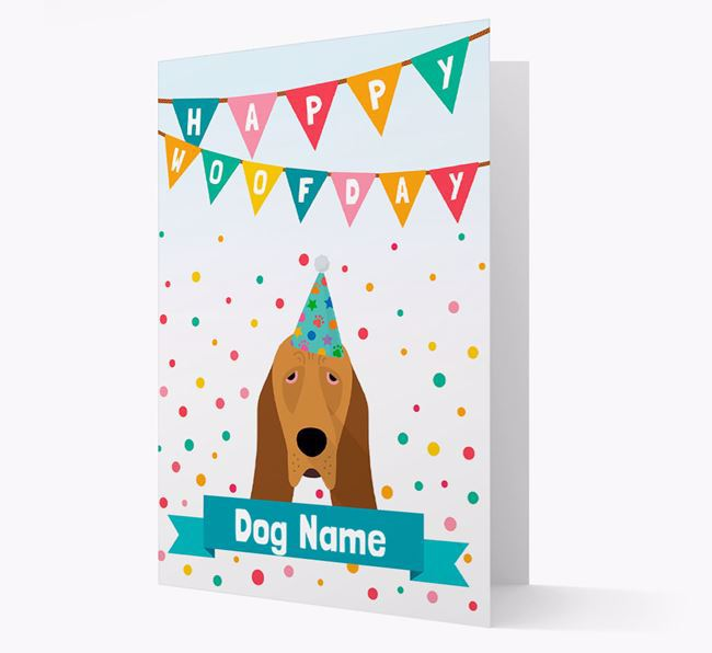Personalized Card 'Happy Woofday ' with Bloodhound Icon