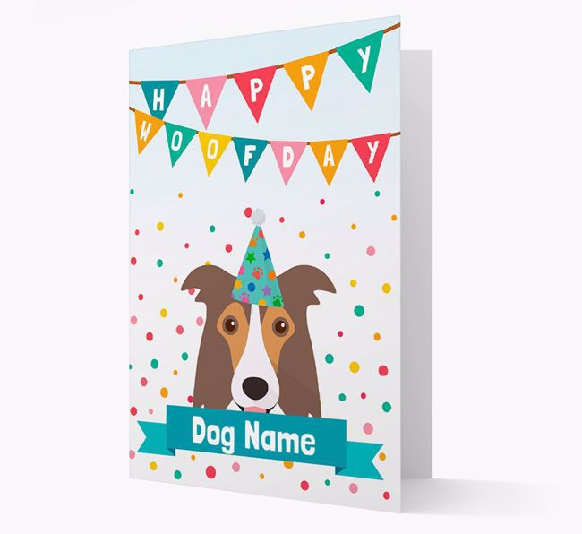 Personalised Card 'Happy Woofday ' with Border Collie Icon
