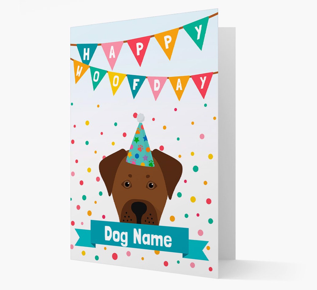 Personalized Card 'Happy Woofday {dogsName}' with Boxador Icon