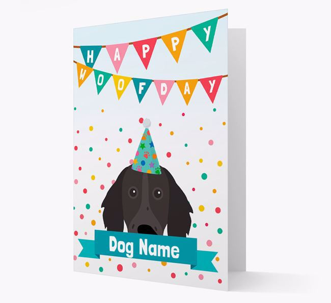 Personalized Card 'Happy Woofday ' with Longhaired Pointer Icon