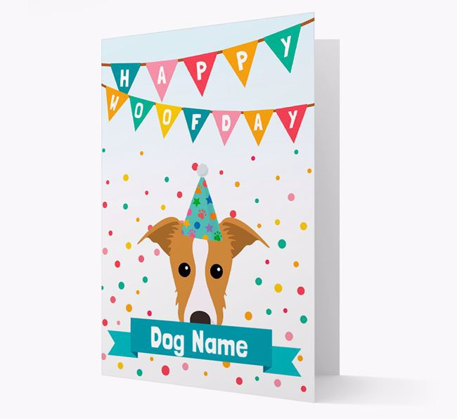 Personalized Card 'Happy Woofday ' with Lurcher Icon