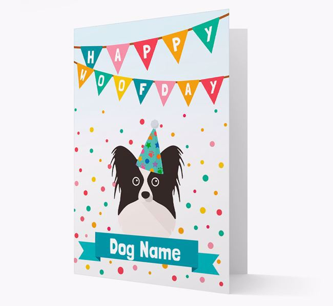 Personalized Card 'Happy Woofday ' with Papillon Icon
