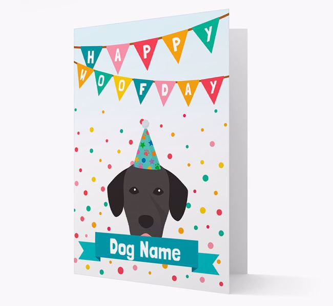 Personalised Card 'Happy Woofday ' with Springador Icon