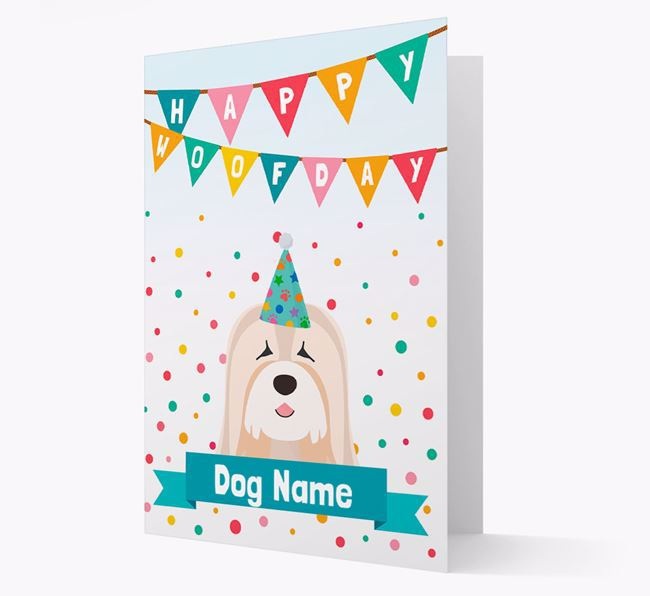 Personalized Card 'Happy Woofday ' with Tibetan Terrier Icon