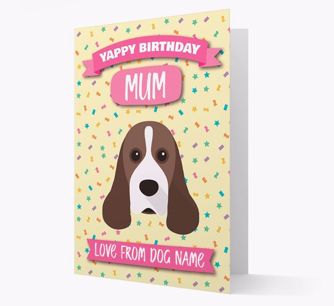 Personalised Card 'Yappy Birthday Mum' with Cocker Spaniel Icon